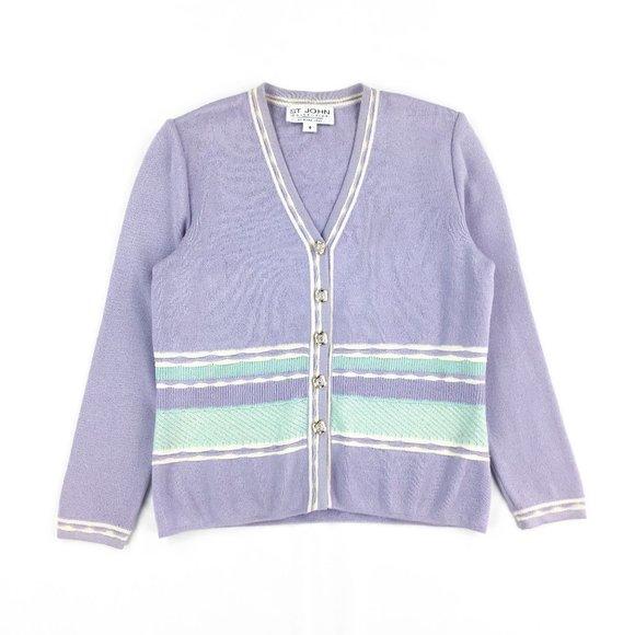 St. John collection pastel cardigan knit sweater